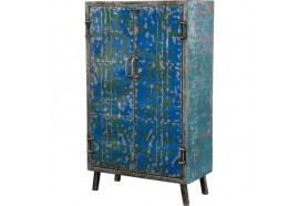 Petite armoire bleue en métal recyclé