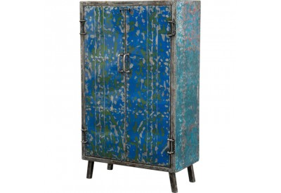 armoire en m tal recycl l 85 cm pour le salon koh deco. Black Bedroom Furniture Sets. Home Design Ideas