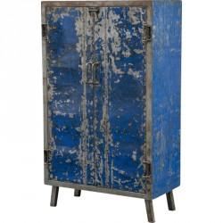 Petite armoire bleue en métal recyclé L 85 cm