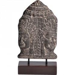 Statuette Bouddha double tête en ciment