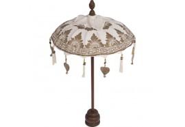 Petit parasol sur pied blanc en Mahogany