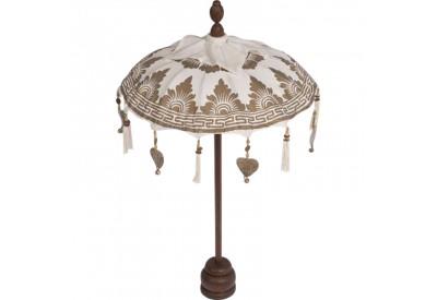 petit parasol sur pied blanc d co bois exotique koh deco. Black Bedroom Furniture Sets. Home Design Ideas