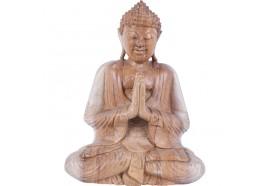 Sculpture de Bouddha en bois de Suar 30 cm