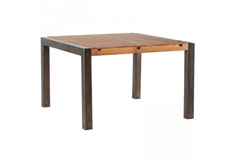 Table repas carr e l 125 cm scott casita en ch ne m tal for Table carree en chene