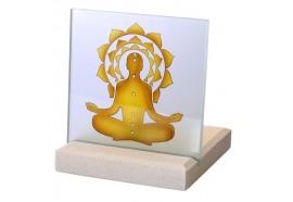 Bougeoir Photophore Chakkra Bouddha en pierre et verre