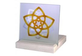 Bougeoir Photophore Fleur de Venus en pierre et verre