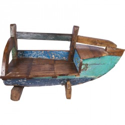 Banc coffre pirogue Tuban en bois de bateau recyclé