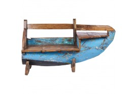 Banc coffre pirogue Sondo en bois de bateau recyclé