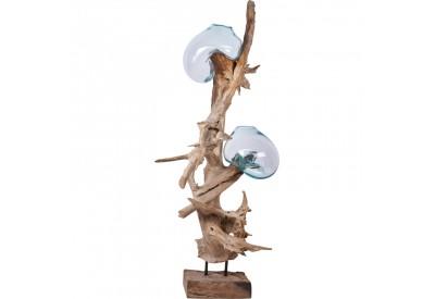 Vase sur teck flott grand mod le binjai de bali koh deco for Vase avec bois flotte