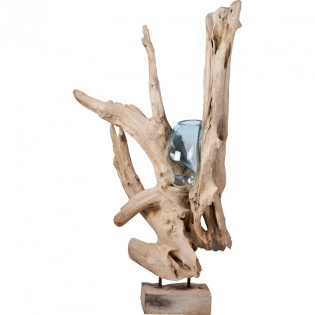 Vase sur teck flott grand mod le siabu de bali koh deco for Decoration interieur bois flotte