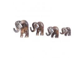 Set 4 éléphants en bois - Marron