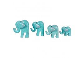 Set 4 éléphants en bois - Turquoise