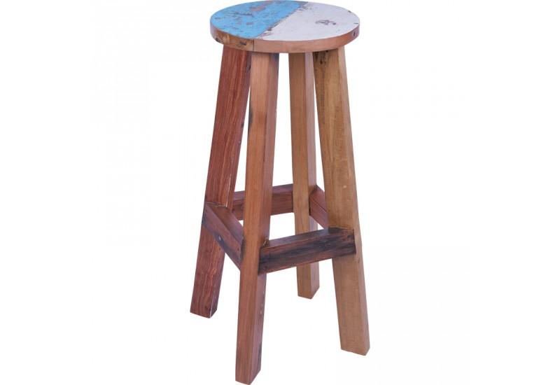 tabouret haut en bois de bateau bleu blanc koh deco. Black Bedroom Furniture Sets. Home Design Ideas