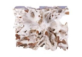 Console en racine de teck blanchi