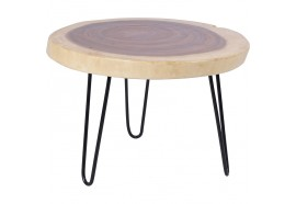 Table basse ronde Madi en bois de suar