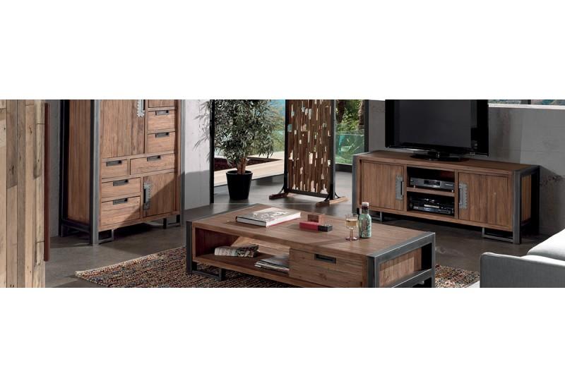 meuble tv en teck m tal l 150 cm wales casita koh deco. Black Bedroom Furniture Sets. Home Design Ideas