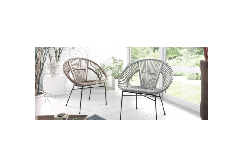 achat fauteuil copa gris e en rotin pour le salon koh deco. Black Bedroom Furniture Sets. Home Design Ideas
