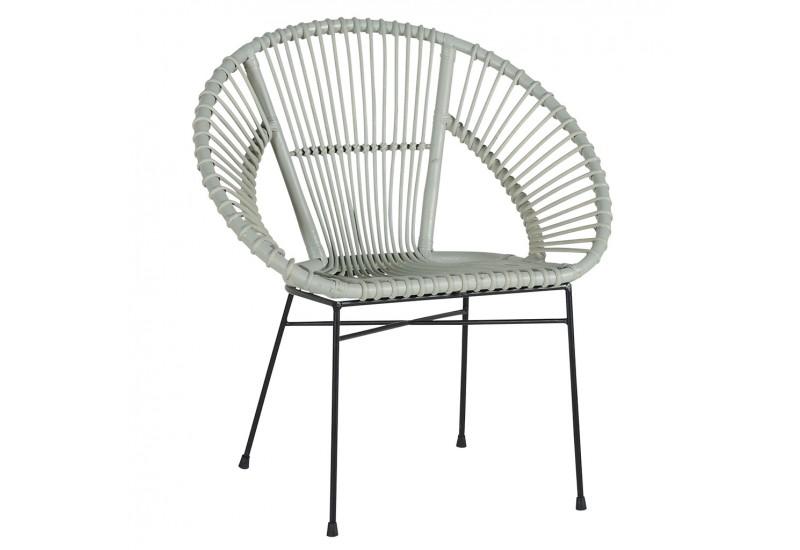 achat fauteuil copa gris e en rotin pour le salon koh deco. Black Bedroom Furniture Sets. Home Design Ideas