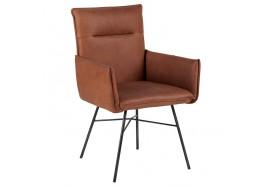 Chaise avec accoudoirs en cuir Havane - CASITA