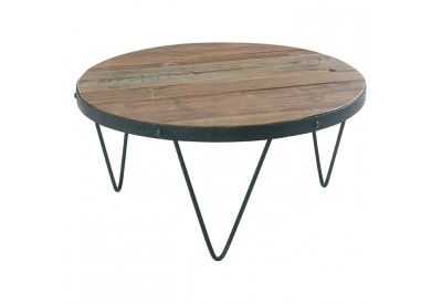 table basse ronde en bois recycl m tal cross koh deco. Black Bedroom Furniture Sets. Home Design Ideas