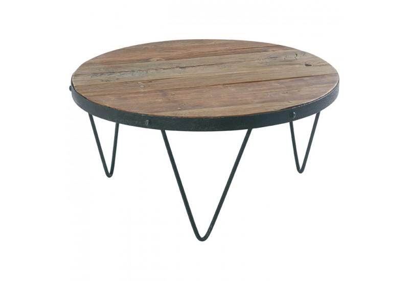 Table Basse Ronde En Bois Recycle Metal Cross Koh Deco