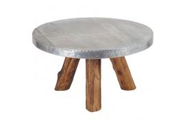 Table basse ronde Bimi en Teck & Aluminium
