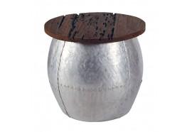 Table basse ronde Baba en teck & aluminium