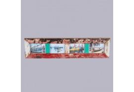 Cadre photos 80 cm en bois de bateau recyclé