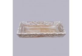 Plateau sculpté 45 x 29 cm en bois blanchi