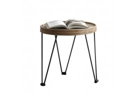 Table basse ronde en rotin naturel Ibi
