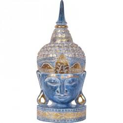 Tête de Bouddha en bois 50 cm - Bleu