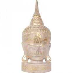 Tête de Bouddha en bois 50 cm - Écru