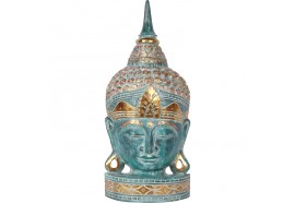 Tête de Bouddha en bois 50 cm - Vert