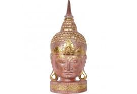 Tête de Bouddha en bois 50 cm - Corail