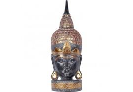Tête de Bouddha en bois 70 cm - Noir
