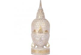 Tête de Bouddha en bois 70 cm - Écru