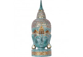 Tête de Bouddha en bois 70 cm - Vert
