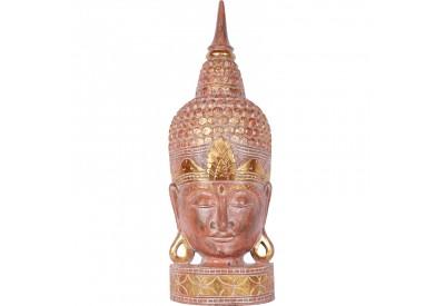 Tête de Bouddha en bois 70 cm - Corail
