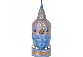 Tête de Bouddha en bois 70 cm - Bleu