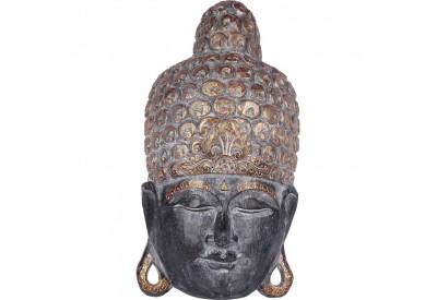 Masque Bouddha en bois 50 cm - Noir