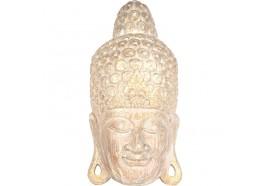 Masque Bouddha en bois 50 cm - Écru