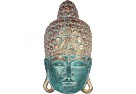 Masque Bouddha en bois 50 cm - Vert