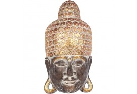 Masque Bouddha en bois 50 cm - Chocolat
