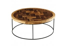 Table basse ronde Amu en teck Ø 80 cm