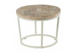 Table basse ronde blanchie en teck Ø 55 cm