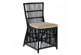 Chaise CHAPIN en rotin noir avec coussin