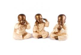 Set 3 moines du Bonheur 20 cm - Blanc