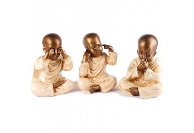 3 Statues Moines de la Sagesse 20 cm - Blanc