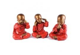 3 Statuettes Bouddhas de la Sagesse 20 cm - Rouge