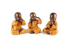 3 Statues Moines de la Sagesse 20 cm - Orange